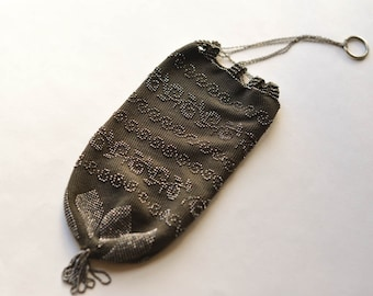 Beaded Reticule Purse, Vintage Micro Beaded Bag, Downton Abby Style, Flapper, Art Deco Style
