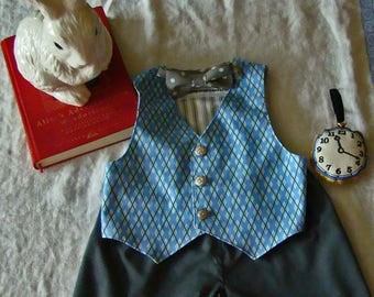 Boys White Rabbit Vest, Gray Pants & Watch BLUES  Alice in Wonderland Party Baby or Toddler Costume