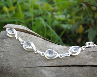 Beautiful white Topaz bracelet, carries the divine light.