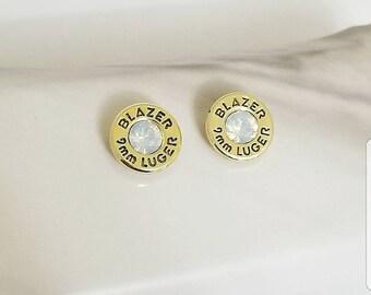 Bullet Earrings, Brass Bullet, Stud Earrings, Opal, Real Bullets, Handmade