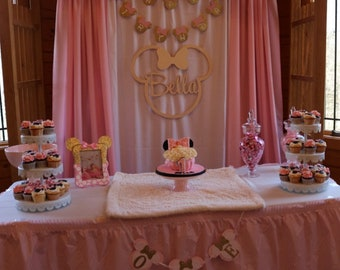 Minnie  Mouse Birthday Sign - Custom Name - Minnie Mouse Sign - Name Nursery Wall Hanging 1st Birthday Sign Party Decor - Backdrop Sign