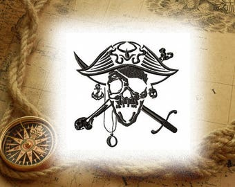 jolly Roger  / pirate - Machine Embroidery design - tested