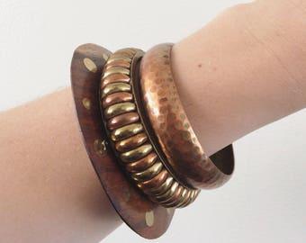 1980's Wood, Brass, & Copper Bangels- Set of 3 Vintage Bracelets Jewelry by Maeberry Vintage