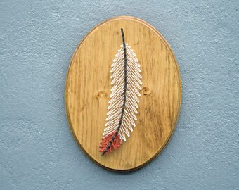 Feather String Art, Feather Art, Bohemian Decor, String Art, Rustic Home Decor, Animal String Art, Wood Wall Art, Boho Art, Boho Chic