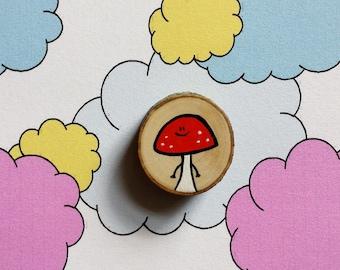 Mushroom - Miniature Painting Woodslice - Magnet or Badge - You decide!