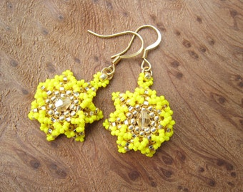 Summer Yellow and Gold, Sun Burst Earrings with Swarovski Crystals, Sparkly Beaded Baubles, Stitched by hand
