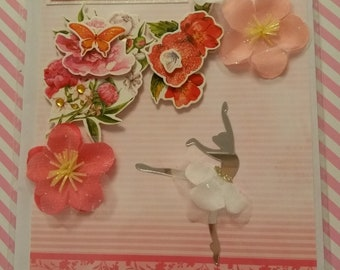 Pink ballerina Happy Birthday card
