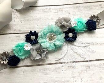 Navy Turquoise Blue Maternity Sash Boy Pregnancy Sash Gender Reveal Party Baby Shower Gift Blue Navy Baby Boy Keepsake