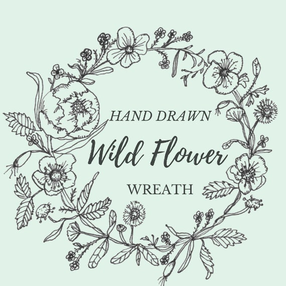Line Art Flowers And Plants : Hand drawn wild flower wreath line drawing flowers plants