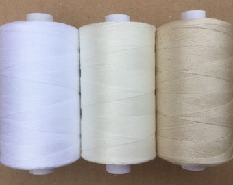 Cotton Machine Quilting Thread, Machine Embroidery Thread, 750m  (820yds) Colours Brilliant White, Antique White, Ecru