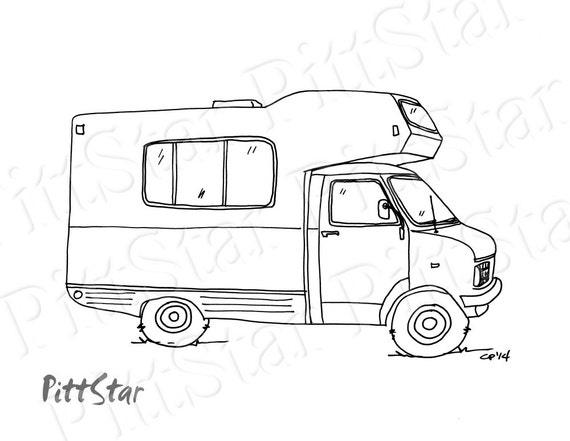 Instant Download Class C Motorhome Printable Coloring Page