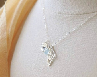 Personalized Necklace- Sterling Silver Angel Wing Necklace/ Initial Necklace/ Gemstone Necklace/ Birthstone Necklace/ Monogrammed Necklace