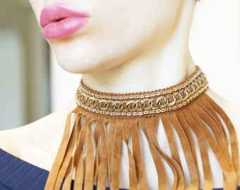 Tribal Brown Choker, Bohemian choker, Fringe Choker, Boho necklace choker, Gold Lace Choker with Long Fringe, Gift for Her
