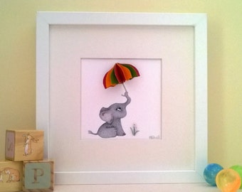 Baby Elephant Art - Elephant Drawing - Children's Playroom Art - Baby's Bedroom Art - Baby Animal Print - 3D Nursery Art - Baby Shower Gift