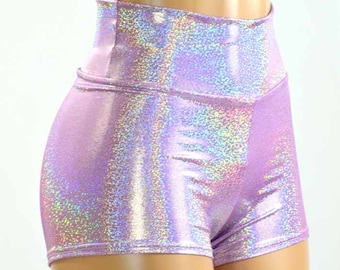 High Waist Lilac Purple Holographic Metallic Spandex Shorts  Festival Rave Clubwear 150951