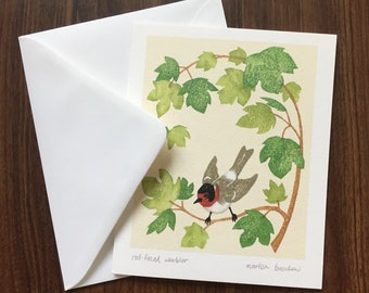 Red-faced warbler greeting card