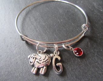 Sheep charm bangle,sheep bracelet, silver sheep charm bracelet, initial bracelet, Swarovski birthstone, personalised jewellery,