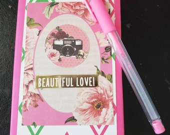 Pink/green hard cover refillable sticky notepad holder