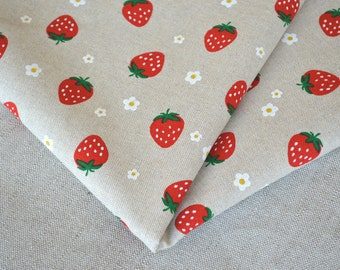 SALE! Red strawberry cotton fabric 19.68 x 55.11 inch