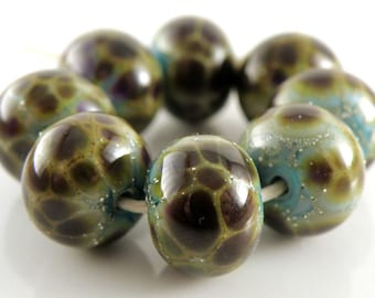 Python SRA Lampwork Handmade Artisan Glass Donut/Round Beads Made to Order Set of 8 8x12mm