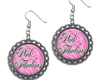 Pink & Fabulous Bottlecap Earrings HypoAllergenic French Style Ear Hooks