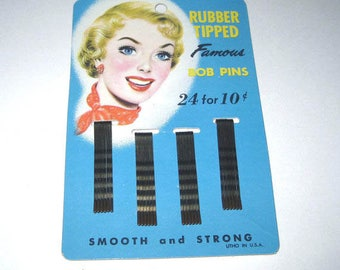 Vintage Rubber Tipped Famous Bob Pins on Original Blue Card with Retro Blonde Lady in Red Scarf