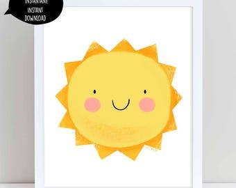 sunshine, sunshine wall art, printable art, sunshine decor, nursery, sunshine printable, nursery wall art, kids wall art, printable art