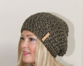 Slouchy Beanie Crochet Slouchy Hat Women Crochet Winter Hat Chunky Women Beanie CHOOSE COLOR Green Tweed Christmas Gift under 50
