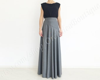 PALOMA grey wool maxi skirt asymmetric detail high waist circle formal winter fall fashion