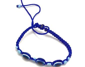 3 Evil Eye Blue Rope Bracelet