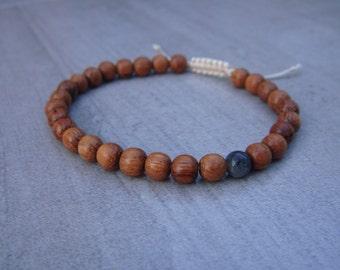 bayong wood and larvakite bead bracelet 6mm beads