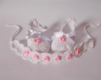 Crochet baby shoes headband White Mary janes shoes headband set Baby Crochet shoes Newborn set boots headband with rose baby set