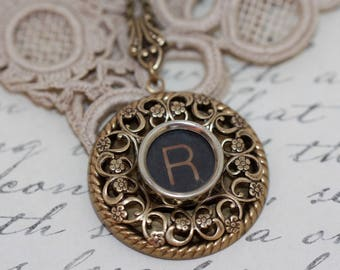 Typewriter Key Necklace-Aged Vintage Typewriter Key-Letter R Pendant-Glass Top-Typewriter Key Letter R-Vintage Typewriter Key Necklace