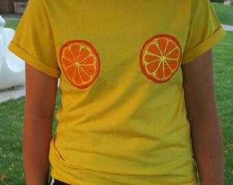 Orange boobs tee shirt hand painted