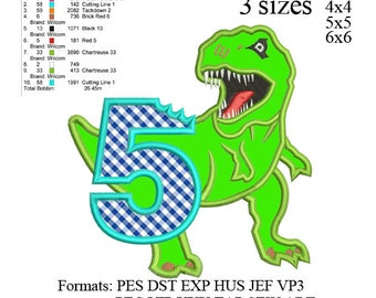 Scary T-rex Dinosaur Applique birthday Embroidery Design number 5 ,Dinosaur embroidery pattern No 591 ... 3 sizes