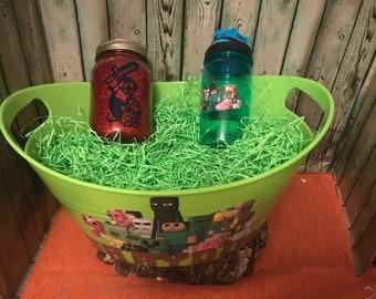 Minecraft Gift Basket, Minecraft Easter Basket, Custom Gift Basket, Minecraft Gift Set, Personalized, Minecraft, Jar Nightlight, Kids Gift