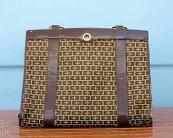 90's Brown Synthetic Leather Handbag - retro - gold metallic details