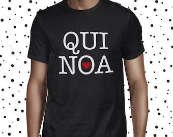 Funny Pun Shirt for Men - Quinoa Love T-shirt - Vegetarian T Shirt - Vegan Tee for Men - Heart Quinoa Shirt - Plant-based Tee - Men's Shirt