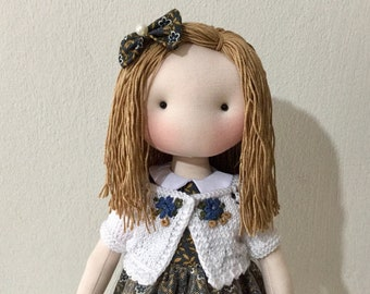 Cloth doll, soft toy, fabric doll, textile art, textile doll, tilda doll, home decor, gift for girls, girls toy, interior doll, stuffed toy