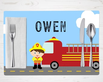 Children's Placemat - Firefighter Boy Placemat - You Choose Skin, Eye, Hair Color - Personalized with Child's Name - Custom Placemat