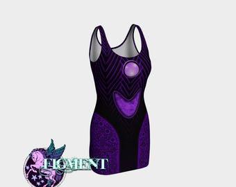 Purple Cyberpunk Dress - Rave Dress, Cybergoth Dress, Robot Costume, Black Light Dress, Cyborg Costume, Rave BodyCon Dress, Futuristic Dress