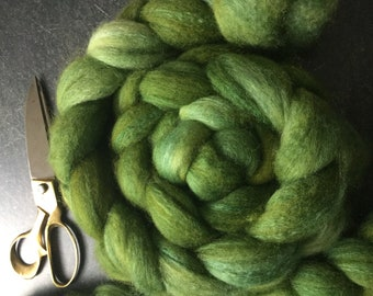BFL and Silk Combed Top Roving Irish Green Colorway