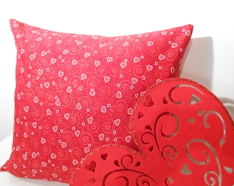 Valentine's Day Pillow Cover, red on red, hearts and swirls and a bit of glitter, 18 X 18in.