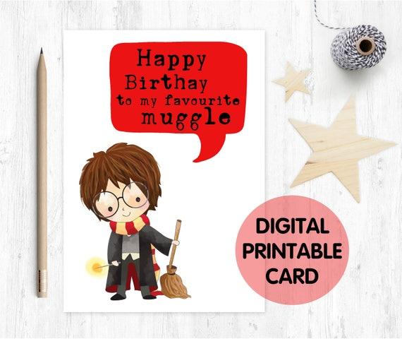 printable birthday card, kids birthday card, muggle birthday card, wizard birthday card, funny birthday card,