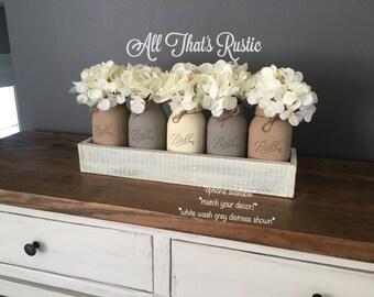 Rustic Table Centerpiece, Large 5 Jar Centerpiece, Rustic Home Decor, Rustic  Decor,