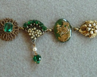 Vintage Collage Bracelet Sparkly Green made from vintage rhinestone jewelry and found items
