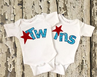 Twin Shirts - Twin Announcement - Twin Bodysuits - Twin Props for Pictures - Boy Twin Shirts