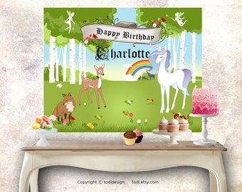 Enchanted  Woodland Forest  Backdrop Design - PERSONALIZED Printable JPG file