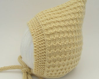 Yellow Baby Hat, Pixie Bonnet, Baby Shower Gift, Size 3-6 months, Luxury Merino, Silk & Cashmere, Ready to Ship