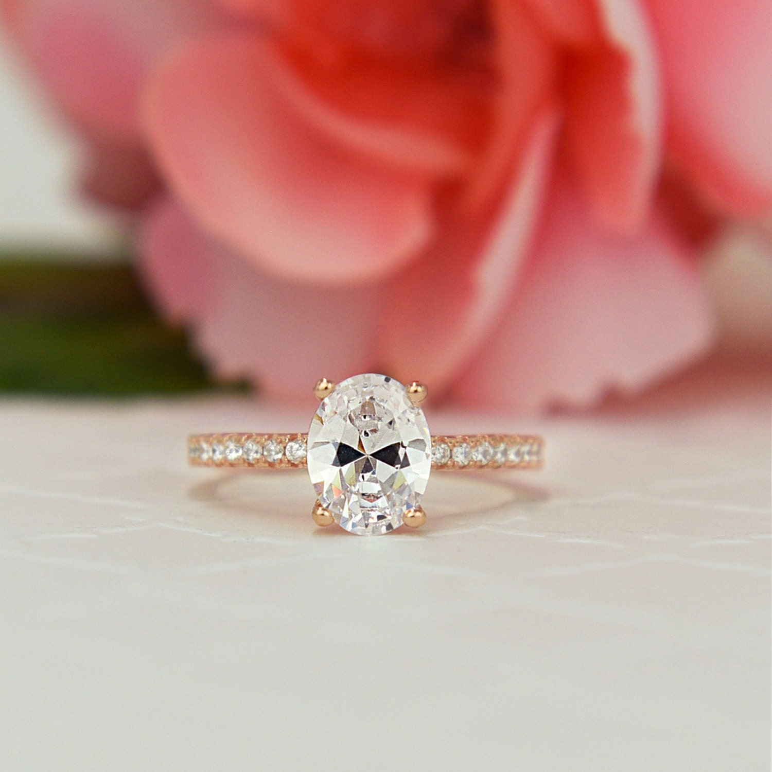 1.25 ctw Oval Accented Solitaire Wedding Ring Bridal Ring